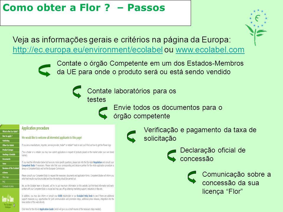 Como obter a Flor ? – Passos Veja as informações gerais e critérios na página da Europa: http://ec.europa.eu/environment/ecolabel ou www.ecolabel.com