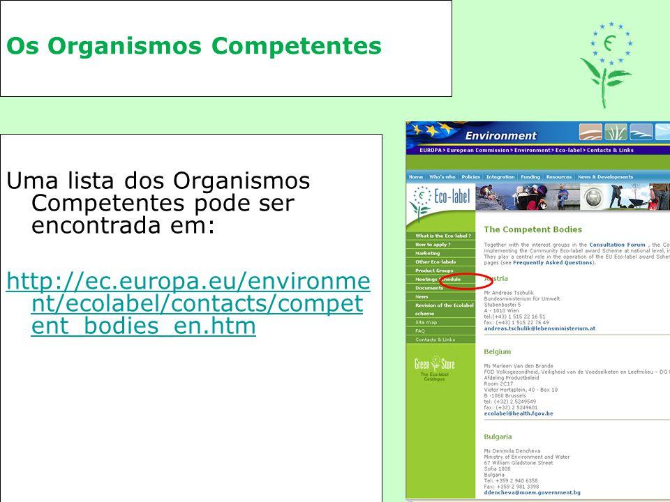 Os Organismos Competentes Uma lista dos Organismos Competentes pode ser encontrada em: http://ec.europa.eu/environme nt/ecolabel/contacts/compet ent_b