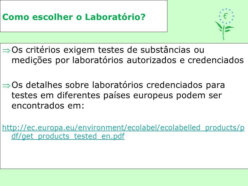 Como escolher o Laboratório? Os critérios exigem testes de substâncias ou medições por laboratórios autorizados e credenciados Os detalhes sobre lab