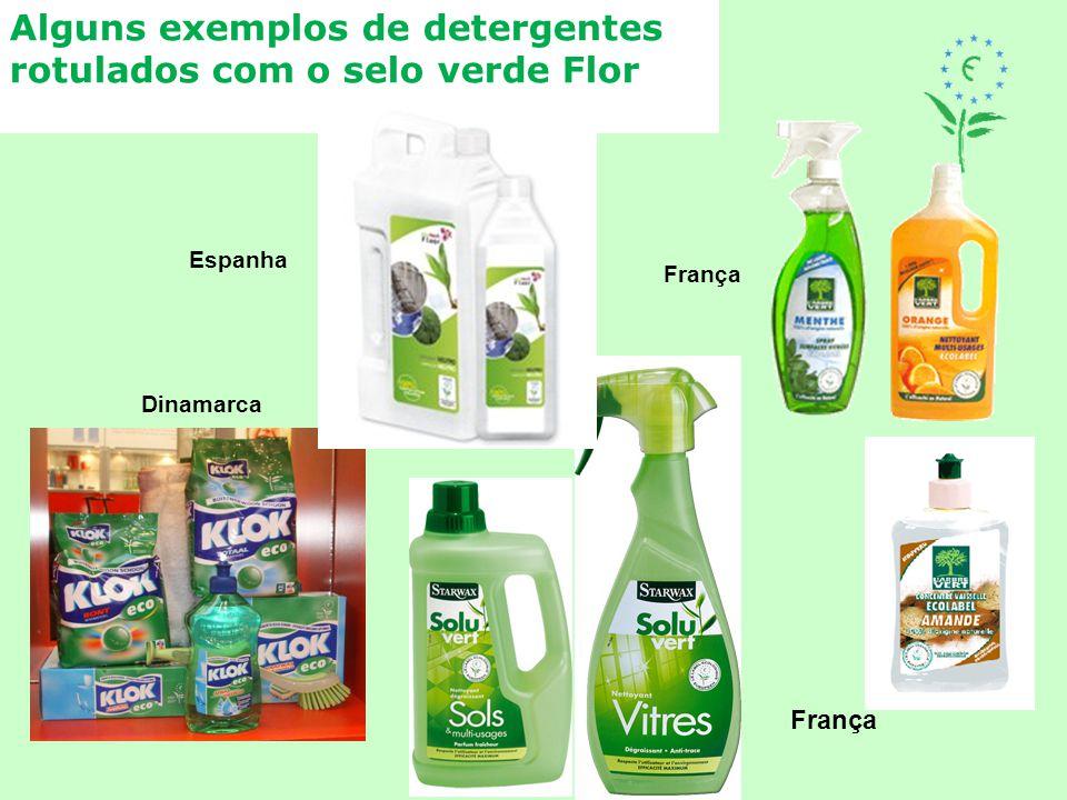 Alguns exemplos de detergentes rotulados com o selo verde Flor Dinamarca França Espanha