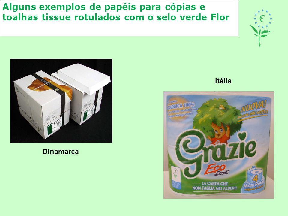 Alguns exemplos de papéis para cópias e toalhas tissue rotulados com o selo verde Flor Itália Dinamarca