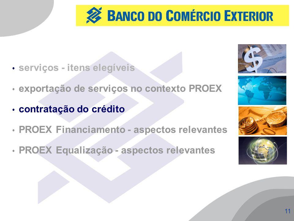 11  serviços - itens elegíveis  exportação de serviços no contexto PROEX  contratação do crédito  PROEX Financiamento - aspectos relevantes  PROEX Equalização - aspectos relevantes