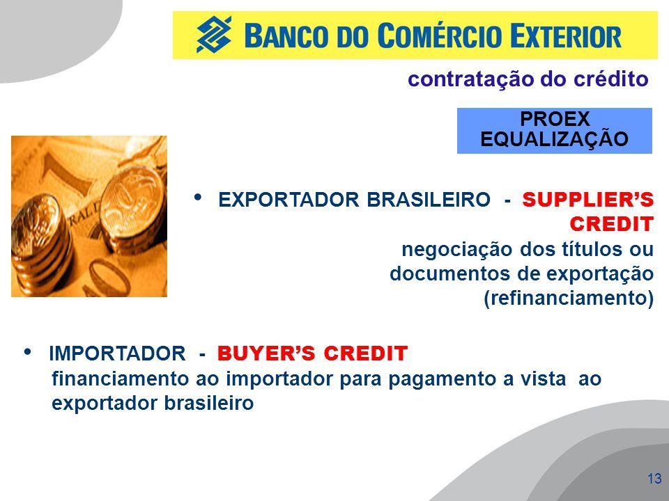 13 PROEX EQUALIZAÇÃO IMPORTADOR - BUYER'S CREDIT financiamento ao importador para pagamento a vista ao exportador brasileiro EXPORTADOR BRASILEIRO - SUPPLIER'S CREDIT negociação dos títulos ou documentos de exportação (refinanciamento) contratação do crédito
