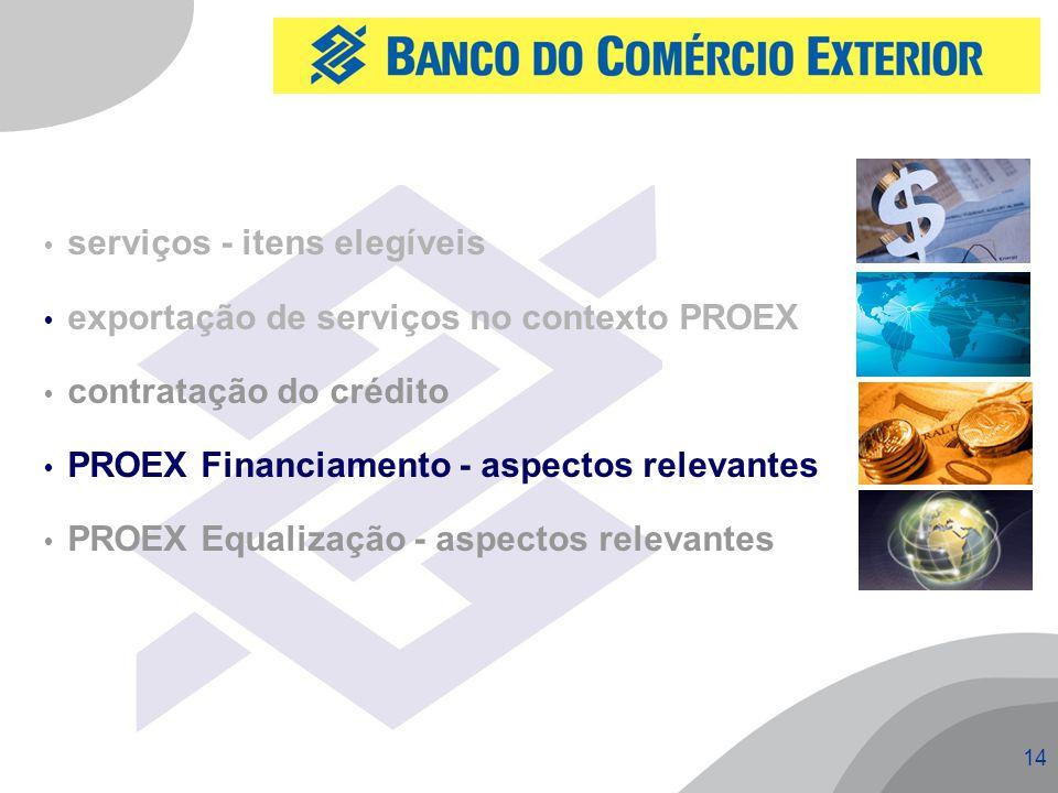 14  serviços - itens elegíveis  exportação de serviços no contexto PROEX  contratação do crédito  PROEX Financiamento - aspectos relevantes  PROEX Equalização - aspectos relevantes