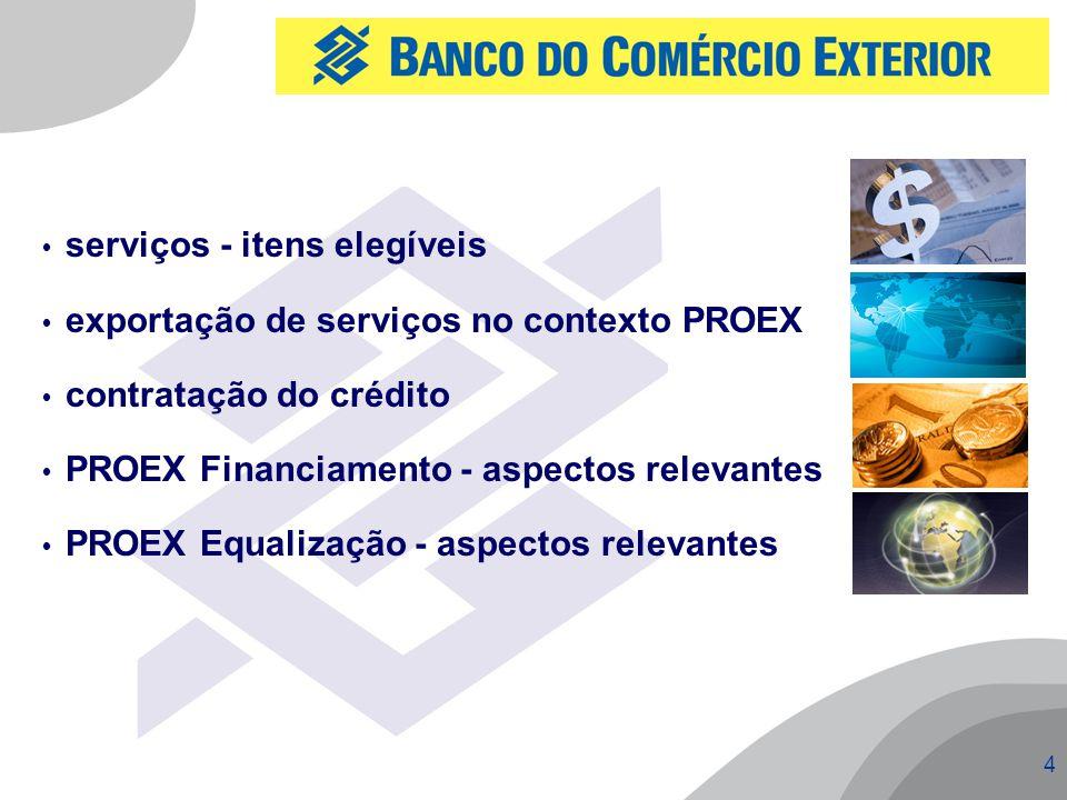 4  serviços - itens elegíveis  exportação de serviços no contexto PROEX  contratação do crédito  PROEX Financiamento - aspectos relevantes  PROEX Equalização - aspectos relevantes