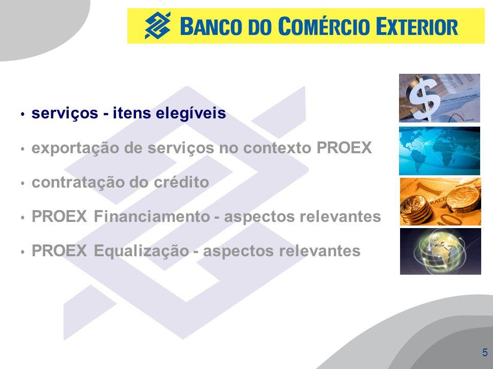 5  serviços - itens elegíveis  exportação de serviços no contexto PROEX  contratação do crédito  PROEX Financiamento - aspectos relevantes  PROEX Equalização - aspectos relevantes