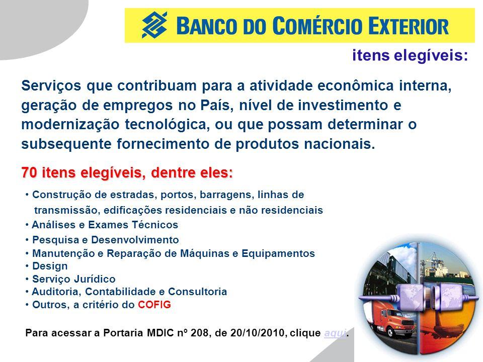 6 Serviços que contribuam para a atividade econômica interna, geração de empregos no País, nível de investimento e modernização tecnológica, ou que possam determinar o subsequente fornecimento de produtos nacionais.