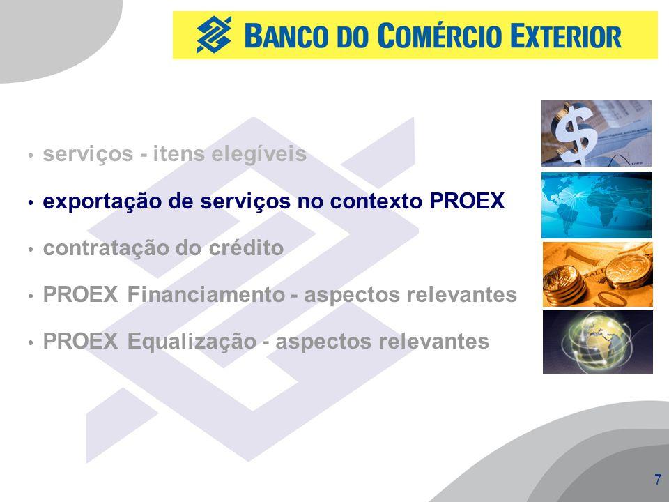 7  serviços - itens elegíveis  exportação de serviços no contexto PROEX  contratação do crédito  PROEX Financiamento - aspectos relevantes  PROEX Equalização - aspectos relevantes