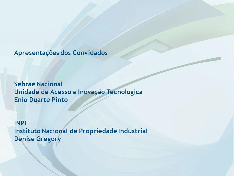 Apresentações dos Convidados Sebrae Nacional Unidade de Acesso a Inovação Tecnologica Enio Duarte Pinto INPI Instituto Nacional de Propriedade Industrial Denise Gregory