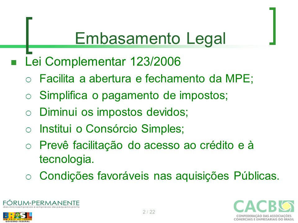 Embasamento Legal Lei Complementar 123/2006  Facilita a abertura e fechamento da MPE;  Simplifica o pagamento de impostos;  Diminui os impostos dev