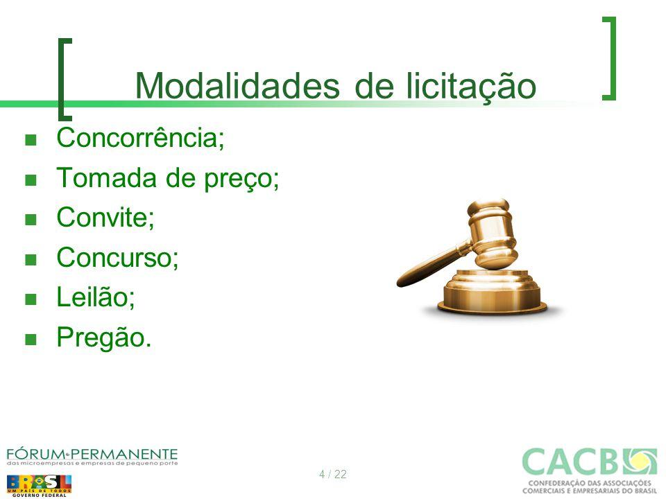 Modalidades de licitação Concorrência; Tomada de preço; Convite; Concurso; Leilão; Pregão. 4 / 22