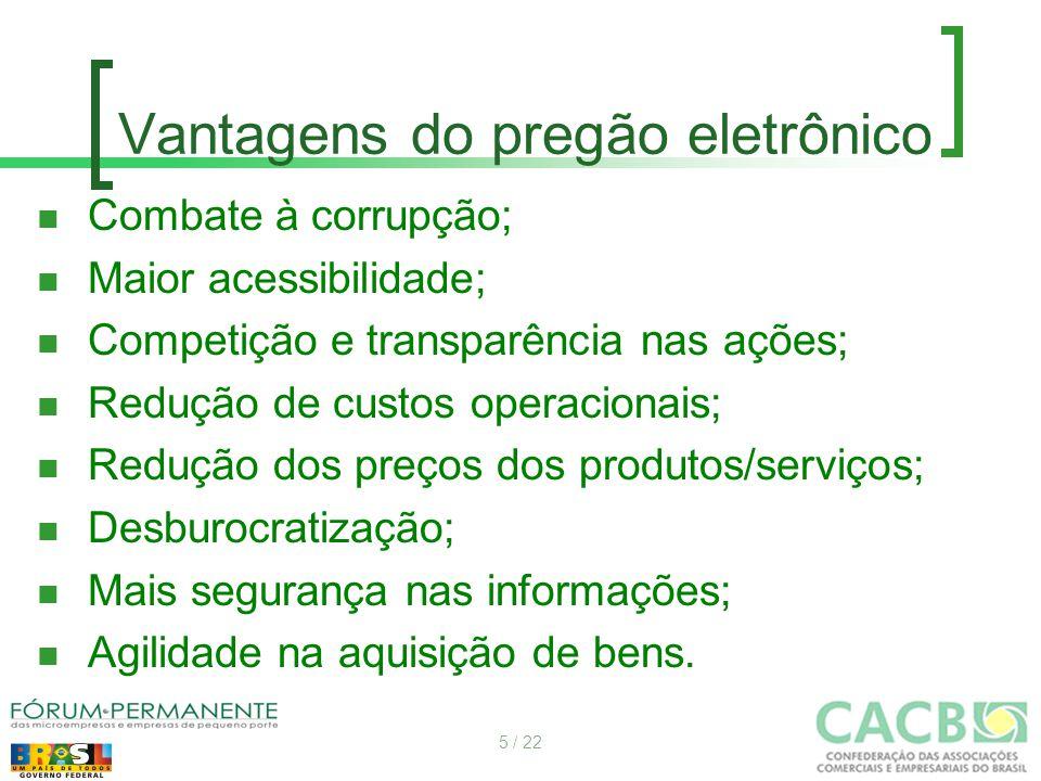 Vantagens do pregão eletrônico Combate à corrupção; Maior acessibilidade; Competição e transparência nas ações; Redução de custos operacionais; Reduçã