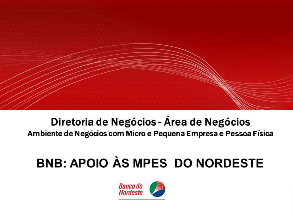 Diretoria de Negócios - Área de Negócios Ambiente de Negócios com Micro e Pequena Empresa e Pessoa Física BNB: APOIO ÀS MPES DO NORDESTE