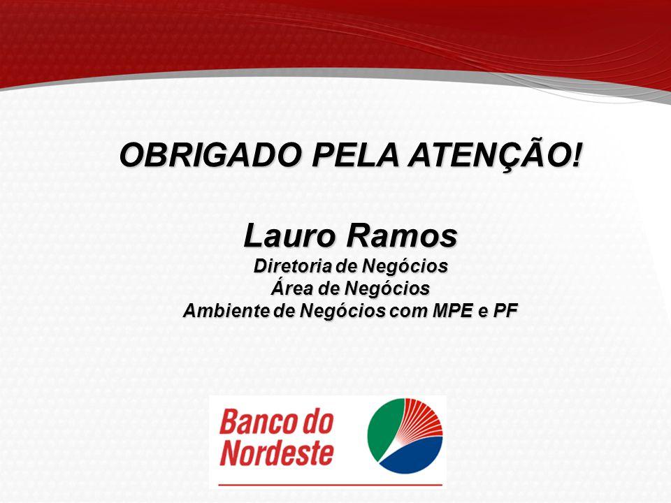 OBRIGADO PELA ATENÇÃO! Lauro Ramos Diretoria de Negócios Área de Negócios Ambiente de Negócios com MPE e PF