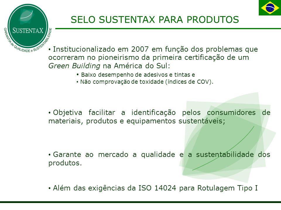 SELO SUSTENTAX PARA PRODUTOS Institucionalizado em 2007 em função dos problemas que ocorreram no pioneirismo da primeira certificação de um Green Building na América do Sul: Baixo desempenho de adesivos e tintas e Não comprovação de toxidade (índices de COV).