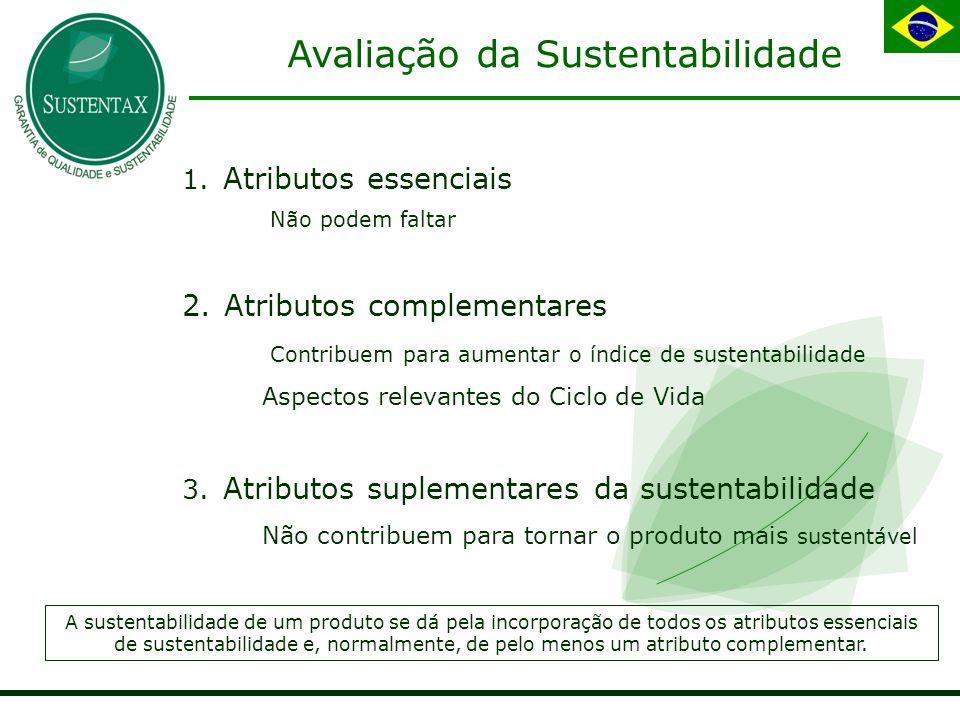Avaliação da Sustentabilidade 1.Atributos essenciais  Não podem faltar 2.