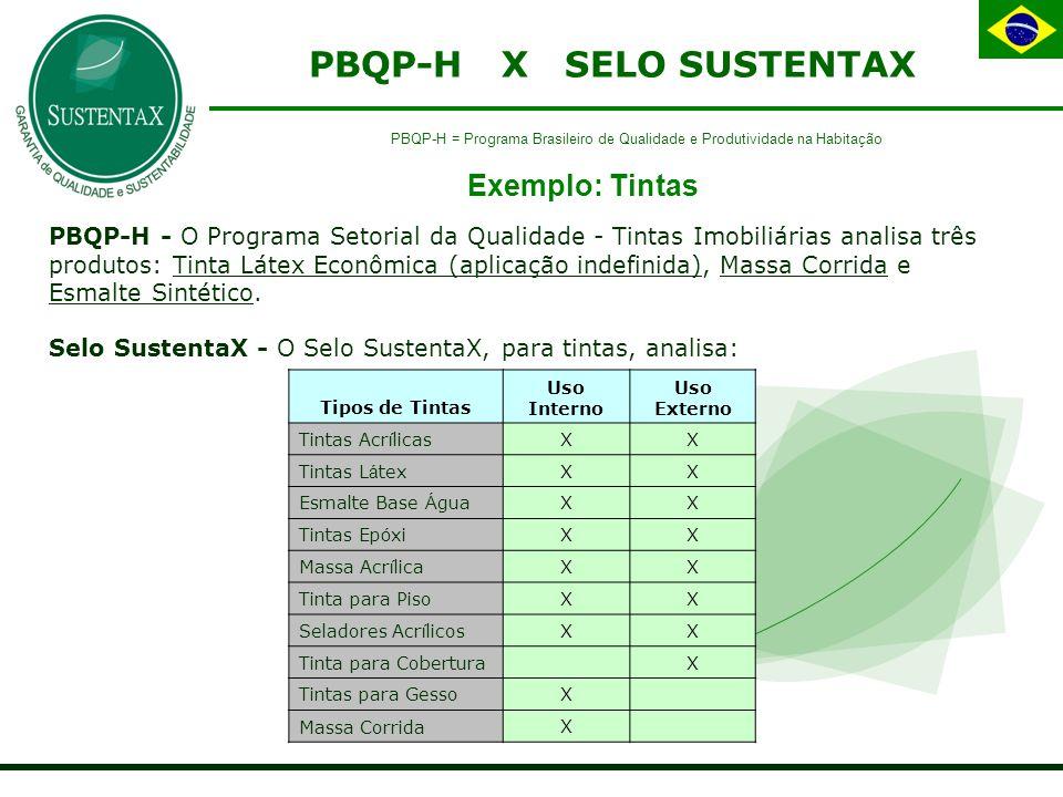 PBQP-H X SELO SUSTENTAX PBQP-H - O Programa Setorial da Qualidade - Tintas Imobiliárias analisa três produtos: Tinta Látex Econômica (aplicação indefinida), Massa Corrida e Esmalte Sintético.