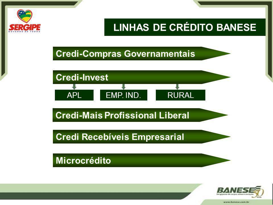 LINHAS DE CRÉDITO BANESE Credi-Compras Governamentais Credi-Invest Credi-Mais Profissional Liberal Credi Recebíveis Empresarial Microcrédito APLEMP.
