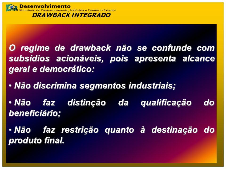 O regime de drawback não se confunde com subsídios acionáveis, pois apresenta alcance geral e democrático: Não discrimina segmentos industriais; Não d