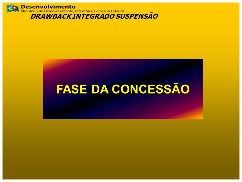 FASE DA CONCESSÃO DRAWBACK INTEGRADO SUSPENSÃO