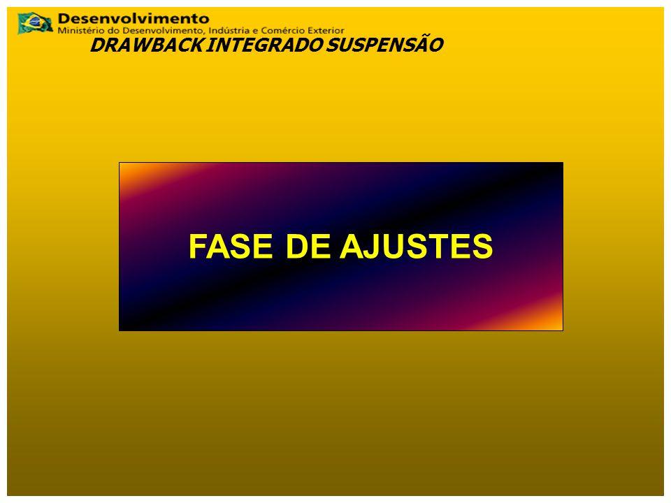 FASE DE AJUSTES DRAWBACK INTEGRADO SUSPENSÃO