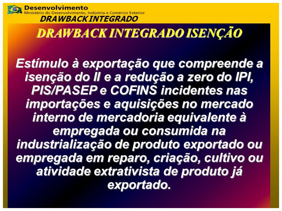 DRAWBACK INTEGRADO ISENÇÃO Estímulo à exportação que compreende a isenção do II e a redução a zero do IPI, PIS/PASEP e COFINS incidentes nas importaçõ