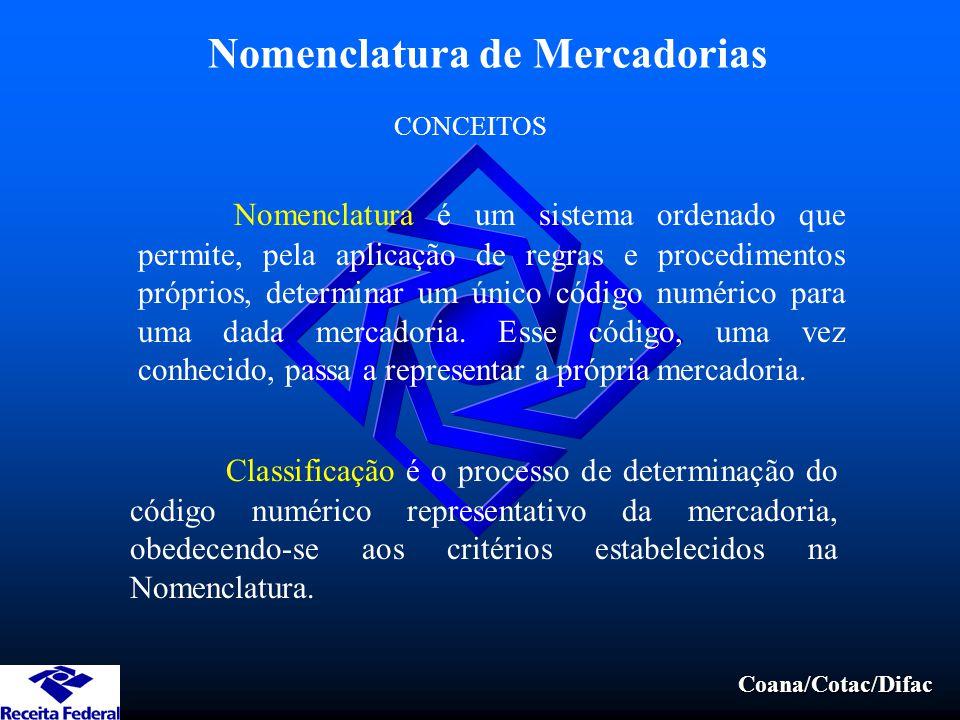 Coana/Cotac/Difac Nomenclatura de Mercadorias Nomenclatura é um sistema ordenado que permite, pela aplicação de regras e procedimentos próprios, deter