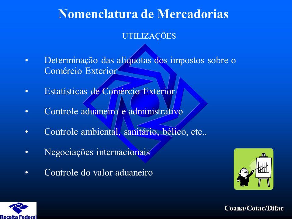 Coana/Cotac/Difac Nomenclatura de Mercadorias Determinação das alíquotas dos impostos sobre o Comércio Exterior Estatísticas de Comércio Exterior Controle aduaneiro e administrativo Controle ambiental, sanitário, bélico, etc..