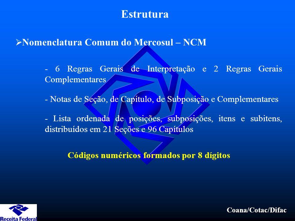 Coana/Cotac/Difac Estrutura  Nomenclatura Comum do Mercosul – NCM - 6 Regras Gerais de Interpretação e 2 Regras Gerais Complementares - Notas de Seção, de Capítulo, de Subposição e Complementares - Lista ordenada de posições, subposições, itens e subitens, distribuídos em 21 Seções e 96 Capítulos Códigos numéricos formados por 8 dígitos