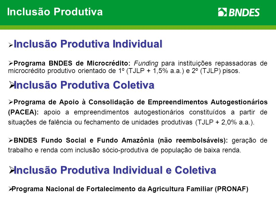Parcerias com o Poder Público Federal Parceria Valor Investimento (R$ milhões) Participação BNDES (R$ milhões) EMD Famílias de Baixa Renda Atendidas Nº de Projetos MDS/Acre 2610 2,62.86535 MDS/Ceará 236 3,88.6002 MDS/Bahia 3316 2,18.72070 MinC / Promoarte 6,41,3 58.53065 Soma88,433,3 28.715172