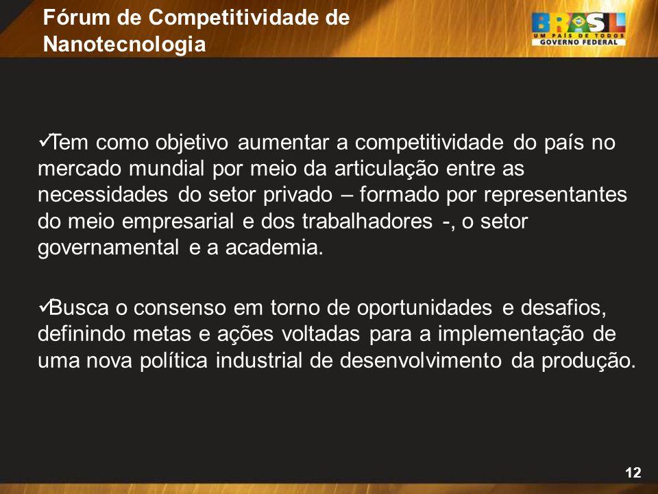 12 Tem como objetivo aumentar a competitividade do país no mercado mundial por meio da articulação entre as necessidades do setor privado – formado po