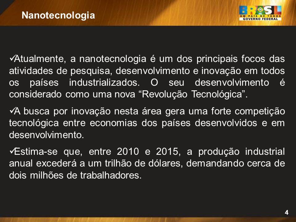 4 Atualmente, a nanotecnologia é um dos principais focos das atividades de pesquisa, desenvolvimento e inovação em todos os países industrializados. O