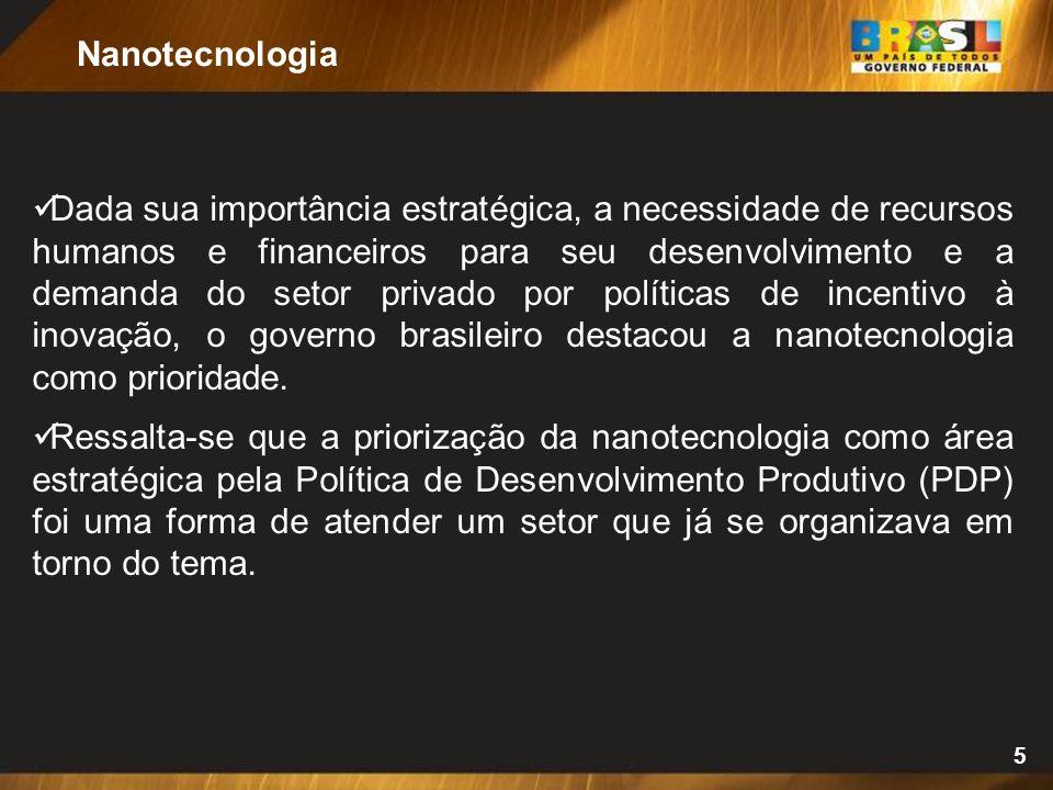 5 Dada sua importância estratégica, a necessidade de recursos humanos e financeiros para seu desenvolvimento e a demanda do setor privado por políticas de incentivo à inovação, o governo brasileiro destacou a nanotecnologia como prioridade.
