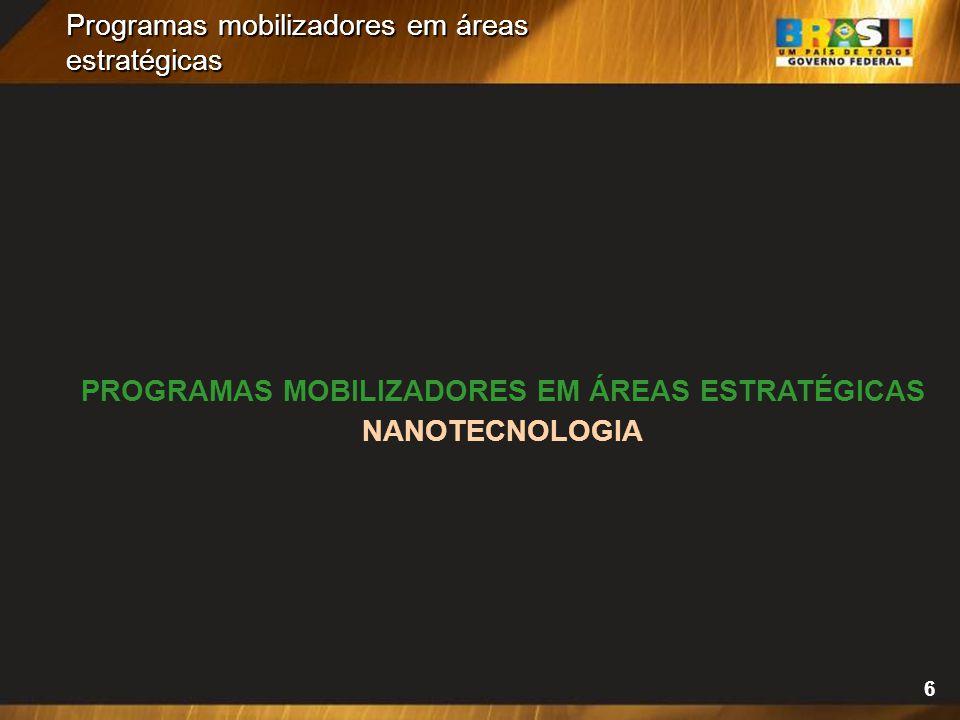 6 Programas mobilizadores em áreas estratégicas PROGRAMAS MOBILIZADORES EM ÁREAS ESTRATÉGICAS NANOTECNOLOGIA