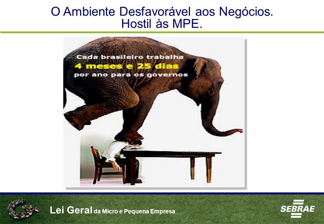Lei Geral da Micro e Pequena Empresa O Ambiente Desfavorável aos Negócios. Hostil às MPE.