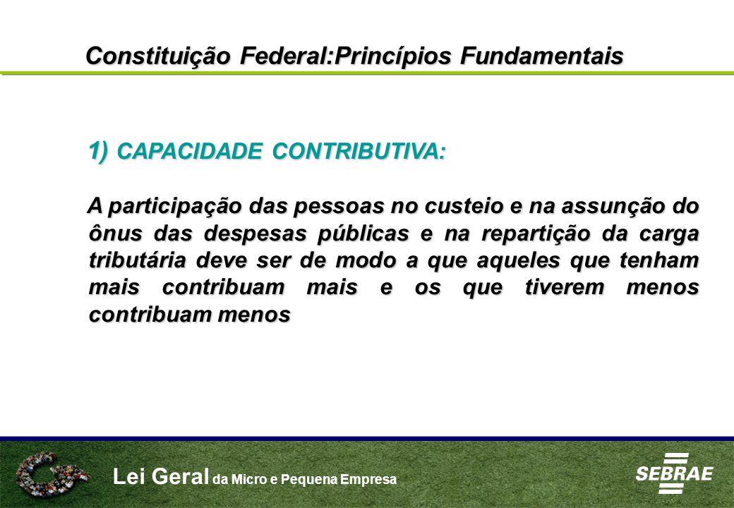 Lei Geral da Micro e Pequena Empresa Constituição Federal:Princípios Fundamentais 1) CAPACIDADE CONTRIBUTIVA: A participação das pessoas no custeio e