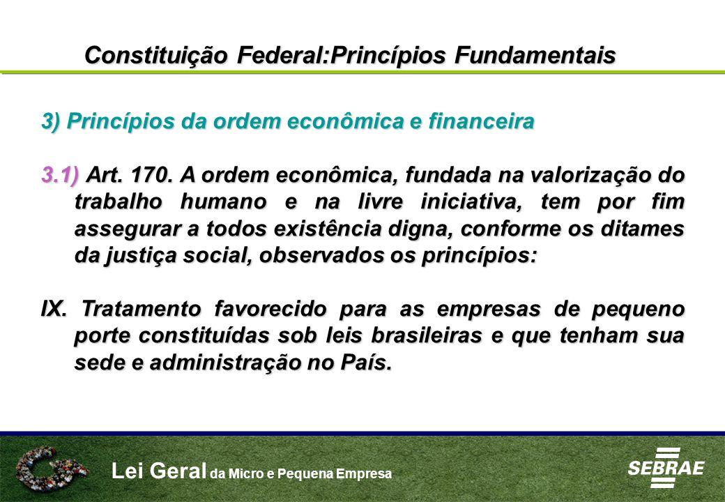 Lei Geral da Micro e Pequena Empresa 3) Princípios da ordem econômica e financeira 3.1) Art. 170. A ordem econômica, fundada na valorização do trabalh