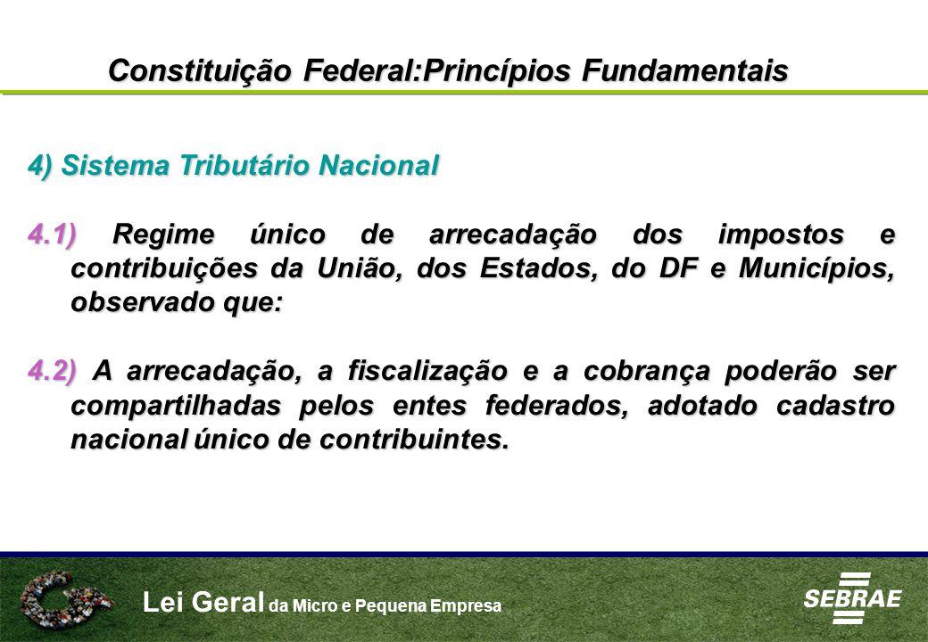 Lei Geral da Micro e Pequena Empresa 4) Sistema Tributário Nacional 4.1) Regime único de arrecadação dos impostos e contribuições da União, dos Estado