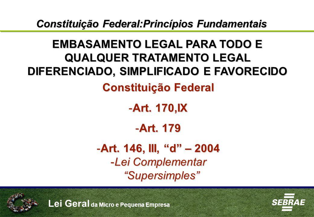 """Lei Geral da Micro e Pequena Empresa Constituição Federal:Princípios Fundamentais Constituição Federal -Art. 170,IX -Art. 179 -Art. 146, III, """"d"""" – 20"""