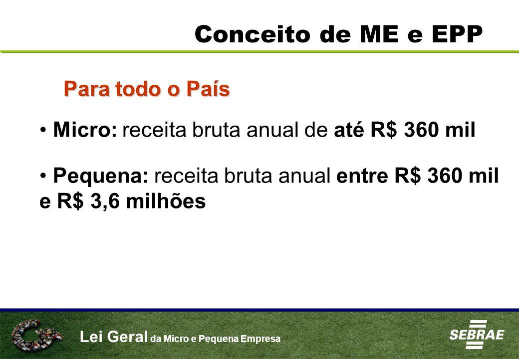 Lei Geral da Micro e Pequena Empresa Conceito de ME e EPP Para todo o País Micro: receita bruta anual de até R$ 360 mil Pequena: receita bruta anual entre R$ 360 mil e R$ 3,6 milhões