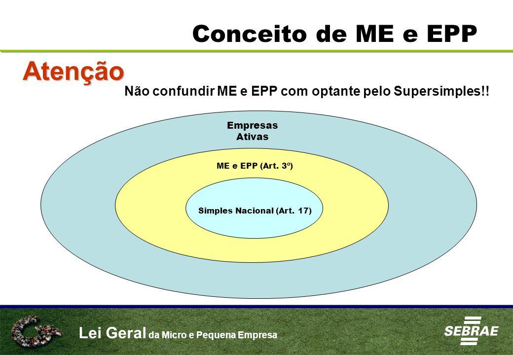 Lei Geral da Micro e Pequena Empresa Conceito de ME e EPP Atenção Não confundir ME e EPP com optante pelo Supersimples!.