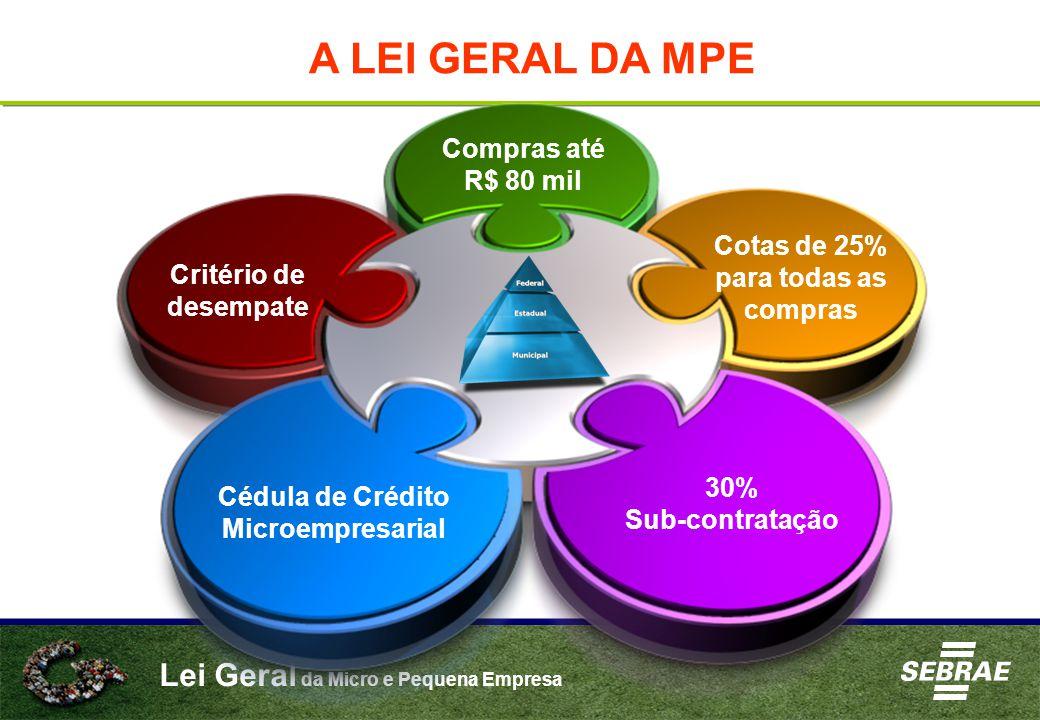 Lei Geral da Micro e Pequena Empresa A LEI GERAL DA MPE Compras até R$ 80 mil Cotas de 25% para todas as compras 30% Sub-contratação Critério de desem