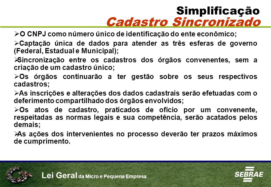 Lei Geral da Micro e Pequena Empresa Simplificação Cadastro Sincronizado  O CNPJ como número único de identificação do ente econômico;  Captação úni