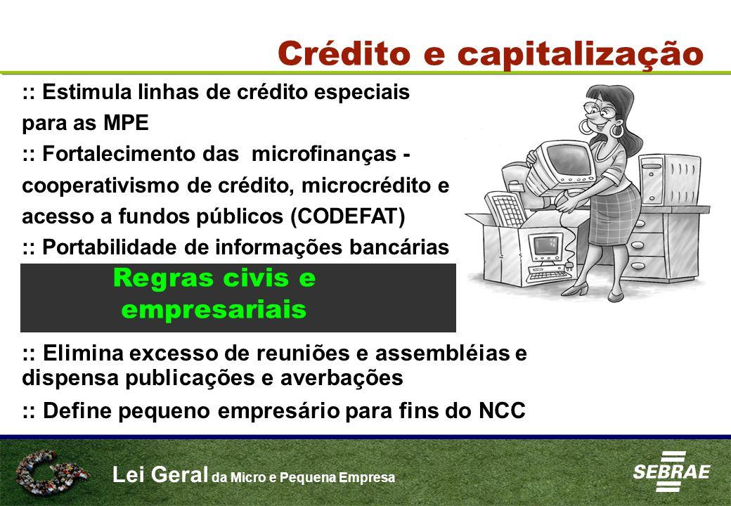 Lei Geral da Micro e Pequena Empresa Crédito e capitalização :: Estimula linhas de crédito especiais para as MPE :: Fortalecimento das microfinanças -