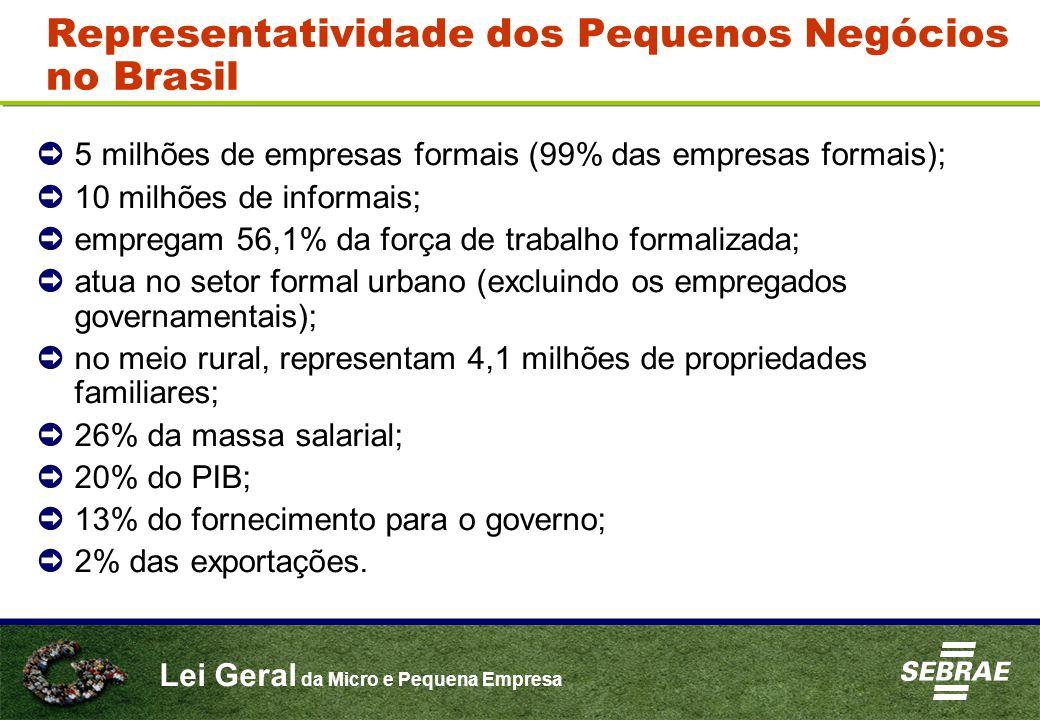 Lei Geral da Micro e Pequena Empresa Representatividade dos Pequenos Negócios no Brasil ➲ 5 milhões de empresas formais (99% das empresas formais); ➲ 10 milhões de informais; ➲ empregam 56,1% da força de trabalho formalizada; ➲ atua no setor formal urbano (excluindo os empregados governamentais); ➲ no meio rural, representam 4,1 milhões de propriedades familiares; ➲ 26% da massa salarial; ➲ 20% do PIB; ➲ 13% do fornecimento para o governo; ➲ 2% das exportações.