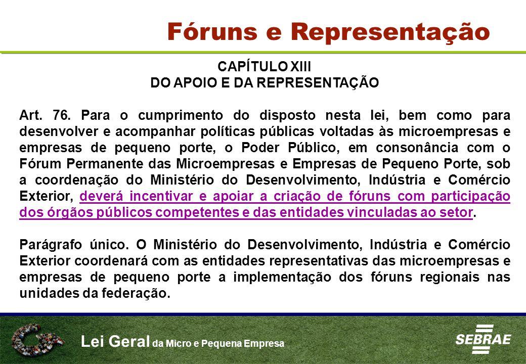 Lei Geral da Micro e Pequena Empresa CAPÍTULO XIII DO APOIO E DA REPRESENTAÇÃO Art. 76. Para o cumprimento do disposto nesta lei, bem como para desenv