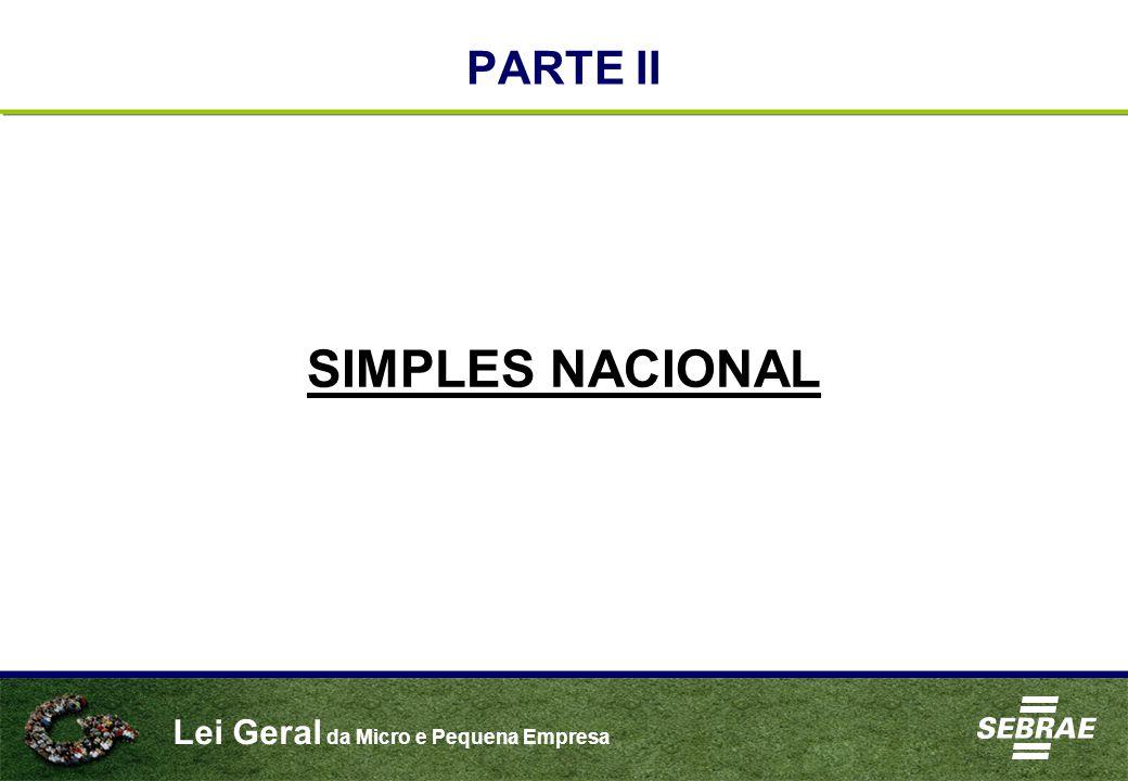 Lei Geral da Micro e Pequena Empresa PARTE II SIMPLES NACIONAL