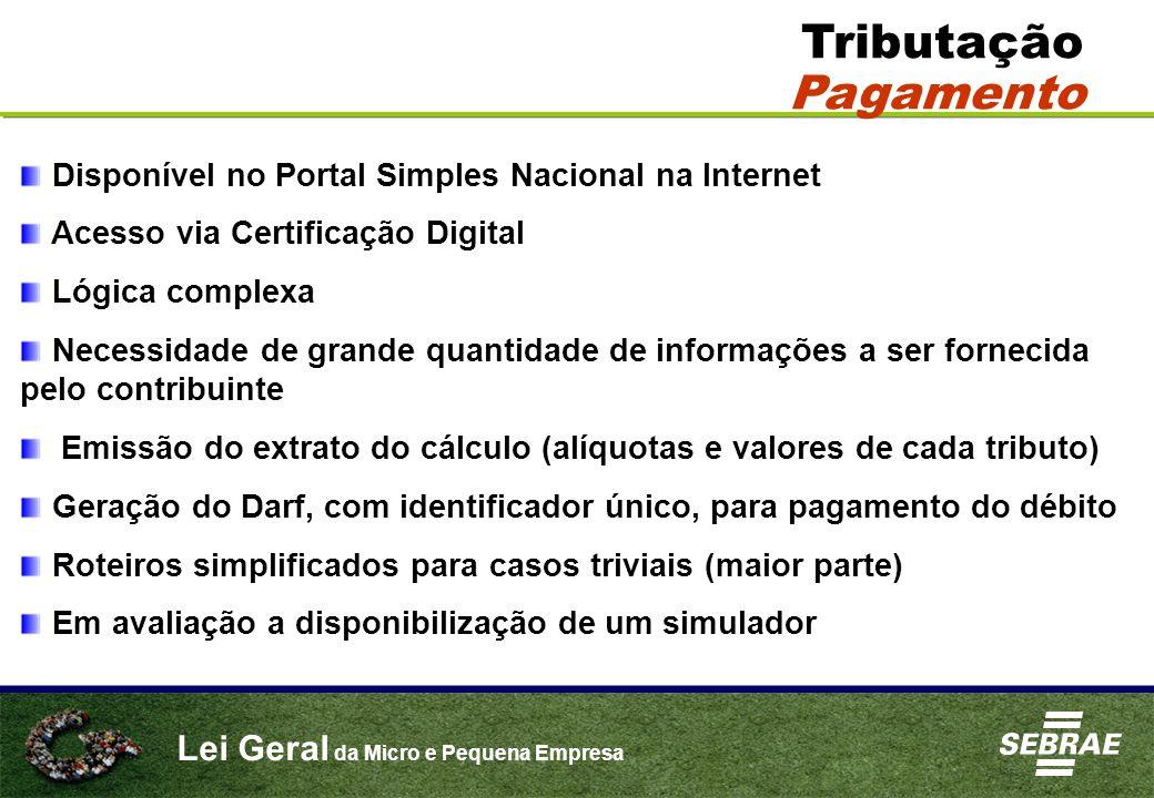 Lei Geral da Micro e Pequena Empresa Tributação Pagamento Disponível no Portal Simples Nacional na Internet Acesso via Certificação Digital Lógica com