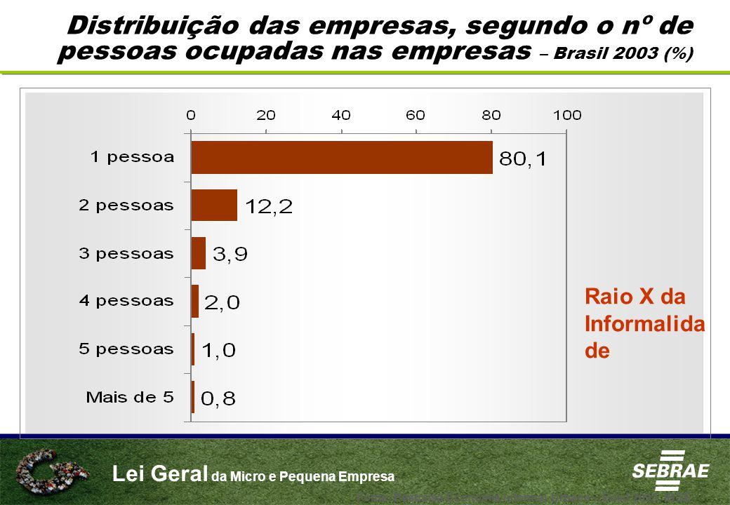Lei Geral da Micro e Pequena Empresa Distribuição das empresas, segundo o nº de pessoas ocupadas nas empresas – Brasil 2003 (%) Raio X da Informalida de Fonte: Pesquisa Economia Informal Urbana – Ecinf 2003, IBGE