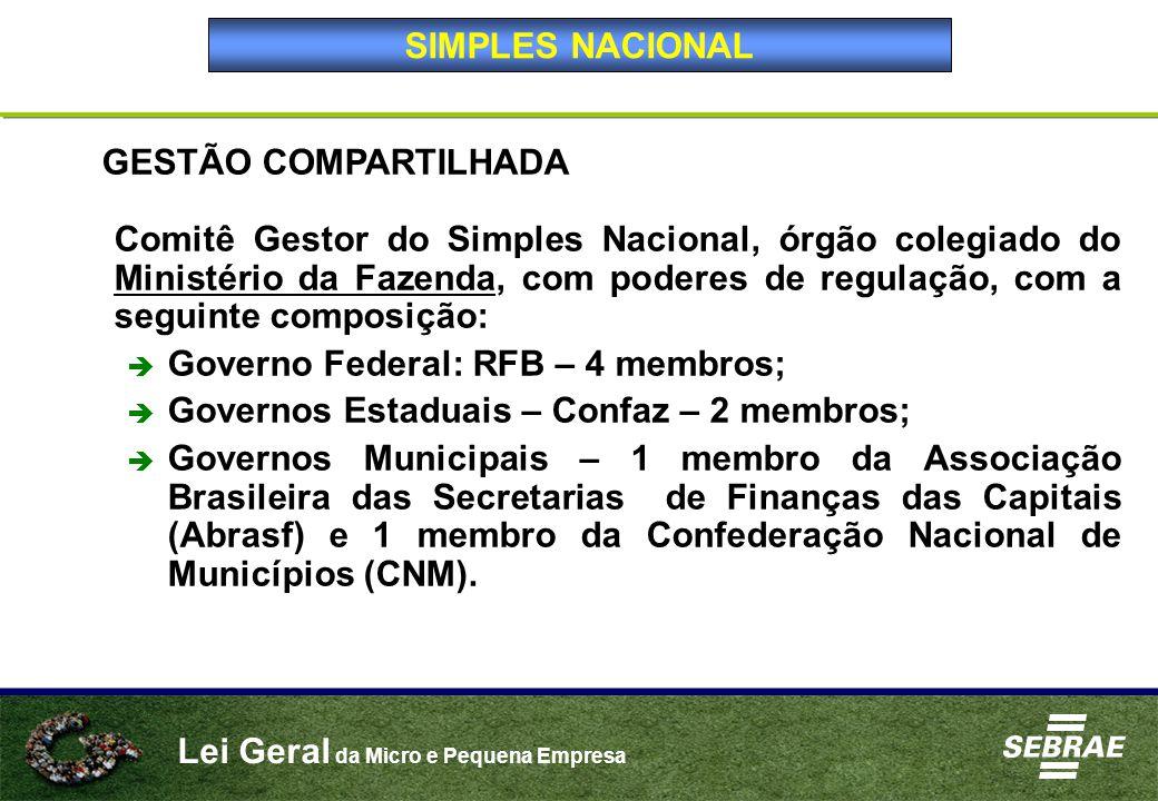 Lei Geral da Micro e Pequena Empresa GESTÃO COMPARTILHADA Comitê Gestor do Simples Nacional, órgão colegiado do Ministério da Fazenda, com poderes de